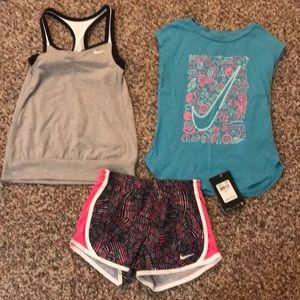 Nike athletic top, shirt and shorts!